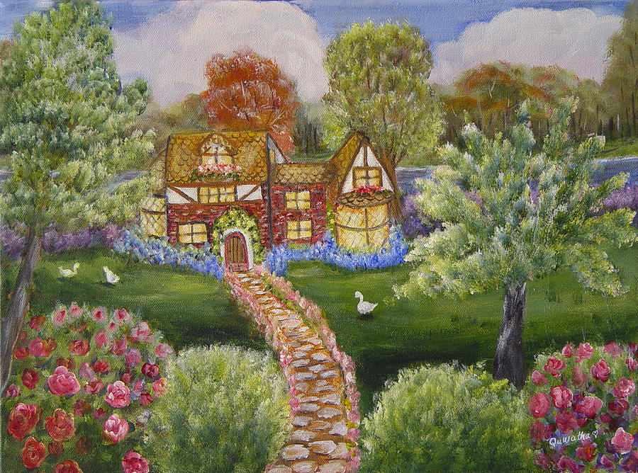 Landscape Painting - Manor Of Yore by Quwatha Valentine