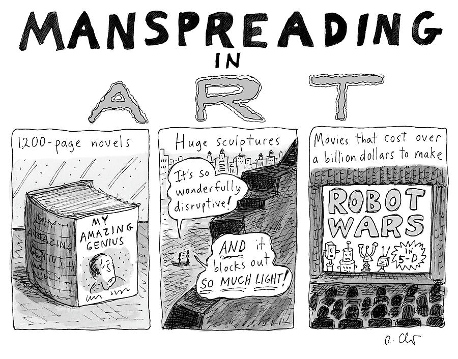 Manspreading In Art Drawing by Roz Chast