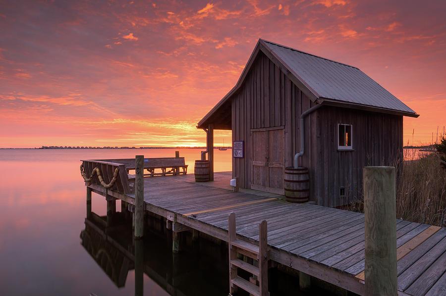 North Carolina Photograph - Manteo Waterfront Fishermans Net House North Carolina Obx by Mark VanDyke