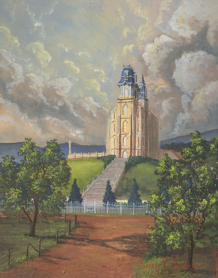 Manti Temple Painting - Manti Summer by Jeff Brimley