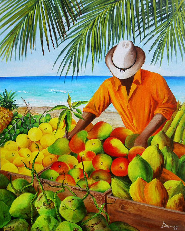 Manuel The Fruit Vendor At The Beach Painting By Dominica