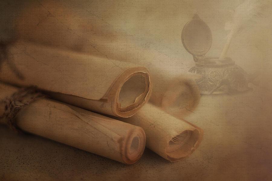 Antique Photograph - Manuscript Scrolls Still Life by Tom Mc Nemar