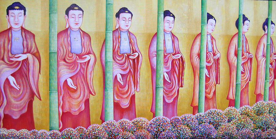 People Painting - Many Budhas by Hiske Tas Bain
