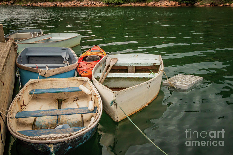 Boats Photograph - Many Dinghies and One Kayak by Elizabeth Dow