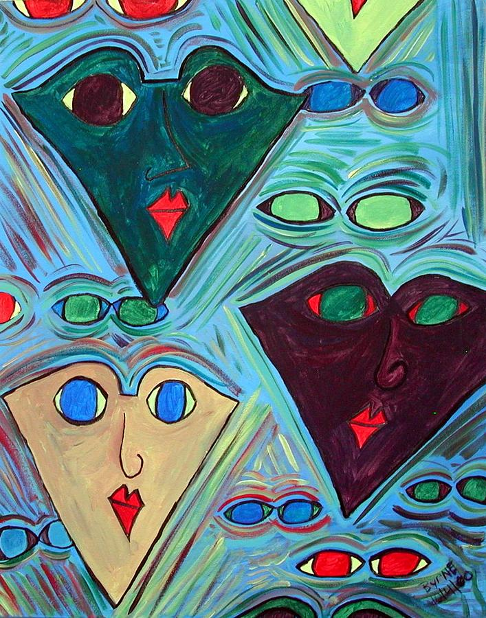Many Faces Blue Painting by Margie  Byrne