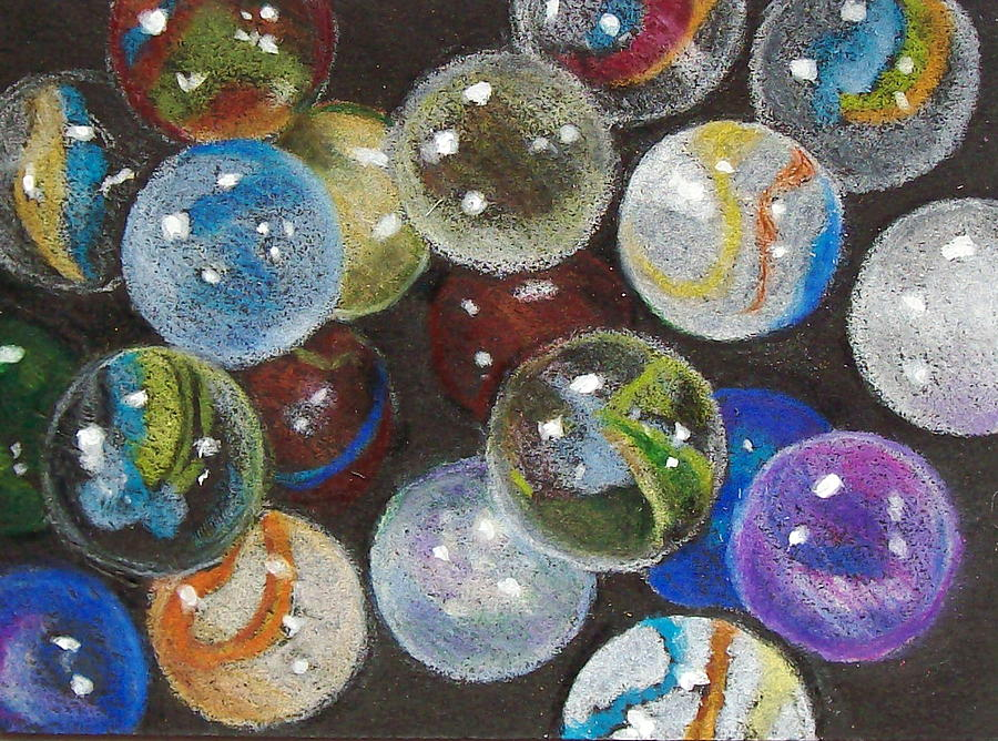 Marbles Drawing - Many Marbles by Joyce Geleynse
