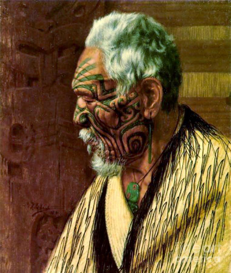 Facial Tattoos Photograph - Maori Elder 1914 by Padre Art