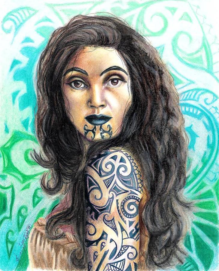 Woman Drawing - Maori Woman by Scarlett Royal