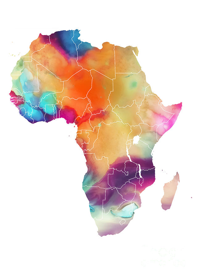Africa Digital Art - Map Africa watercolor colored maps by Justyna Jaszke JBJart