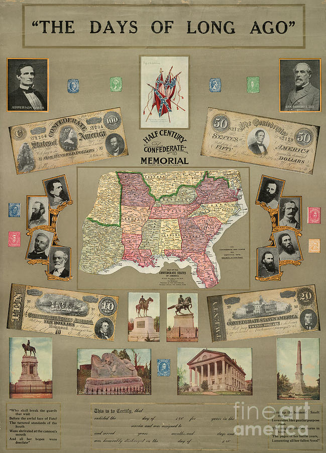 1910 Photograph - Map: Confederate States by Granger
