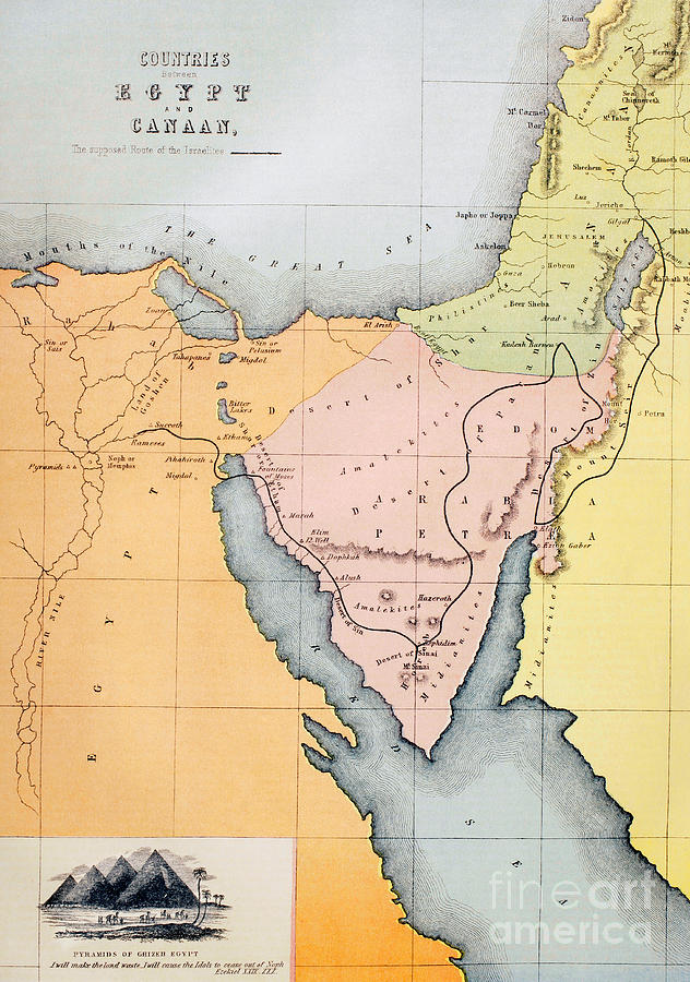 Map Depicting The Countries Between Egypt And Canaan Drawing