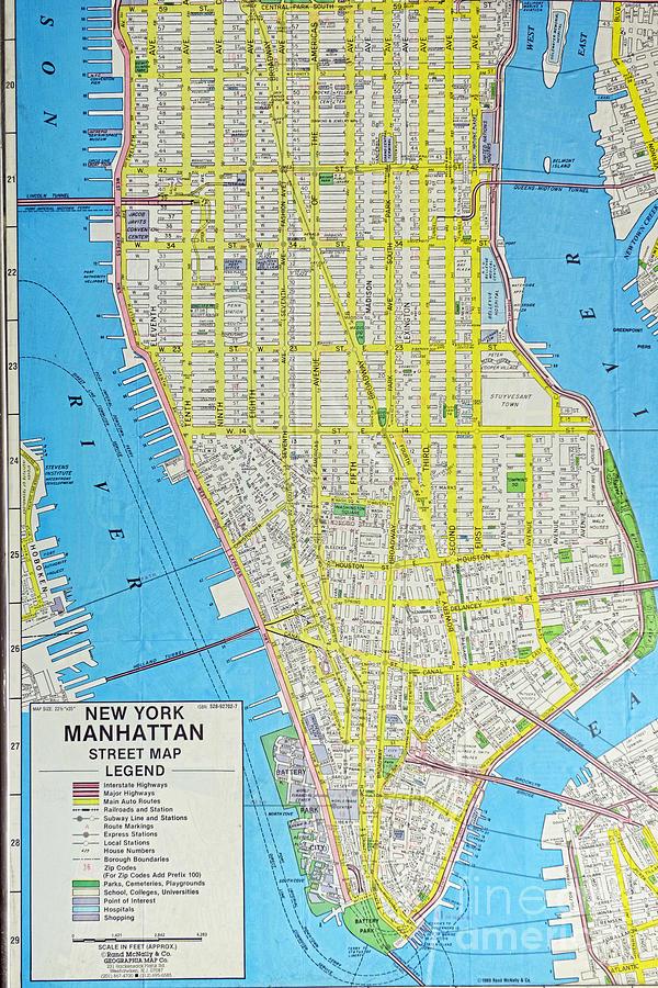 Lower Manhattan Zip Code Map.Map Lower Manhattan Nyc Photograph By Paul Ward
