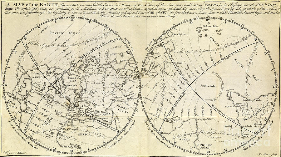 Map Marking Transit Of Venus, 1770 Photograph by Wellcome Images on
