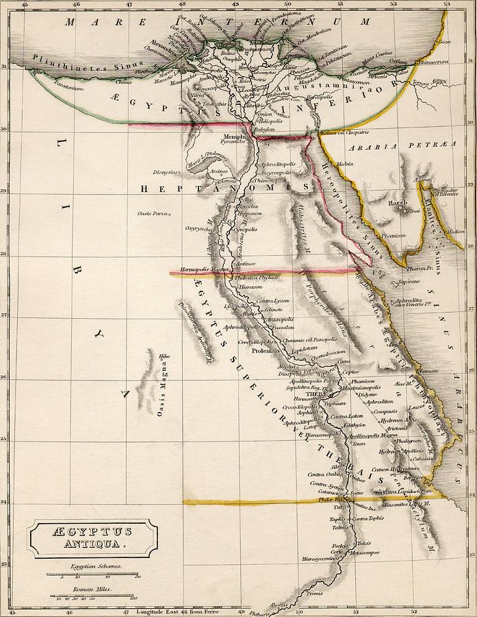 Maps Drawing - Map Of Aegyptus Antiqua by Sydney Hall