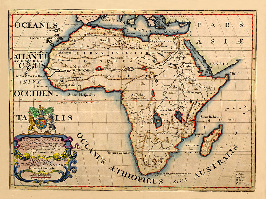 Map Of Africa In 1700 Map Of Africa 1700 Photograph by Andrew Fare