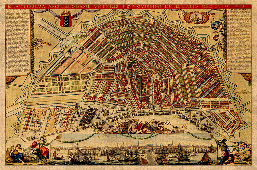 Map of amsterdam netherlands holland vintage street map schematic netherlands mixed media map of amsterdam netherlands holland vintage street map schematic circa 1688 on publicscrutiny Images