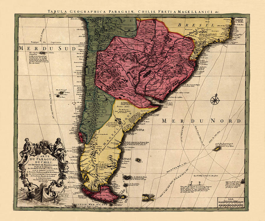 Map Of Argentina Photograph By Andrew Fare - Map of us 1700