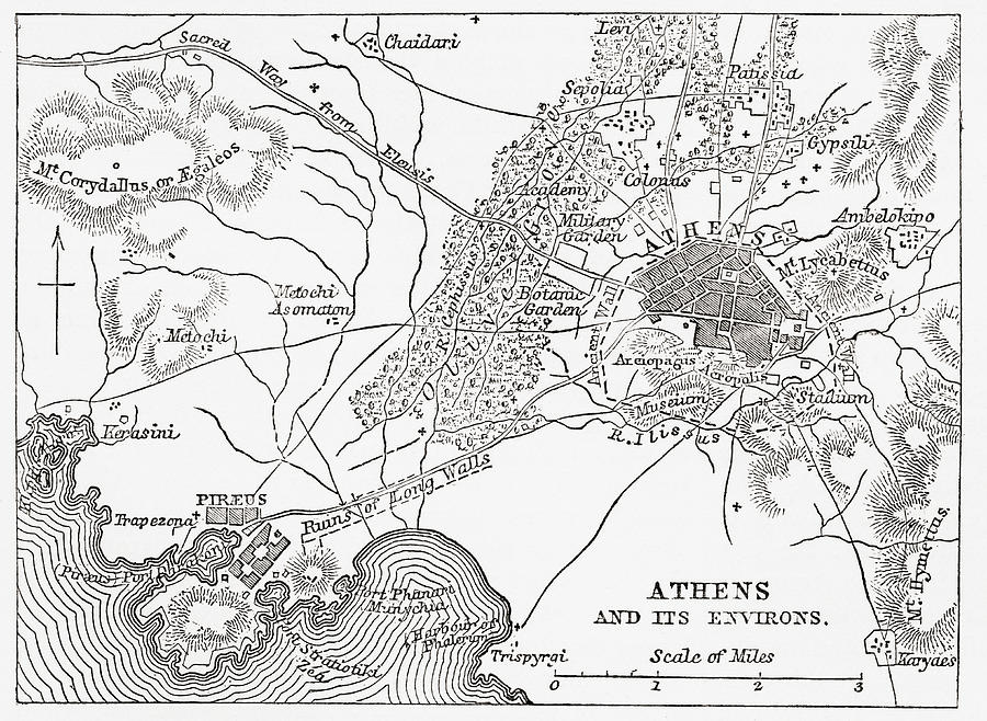 Map Of Athens And Piraeus Greece Mid Drawing By Vintage Design
