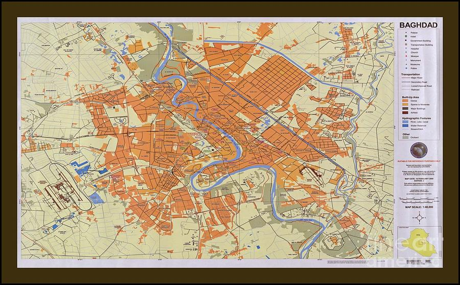 Map Of Baghdad Iraq Photograph By Pd - Baghdad map world