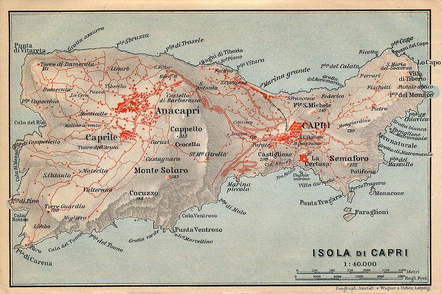 Capri Photograph - Map Of Capri 1909 by Andrew Fare