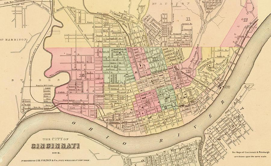 Map Of Cincinnati Drawing by Roy Pedersen