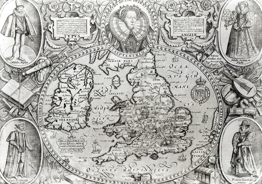 Map Of England Drawing.Map Of England During The Reign Of Queen Elizabeth I 1590 By Jodocus Hondius