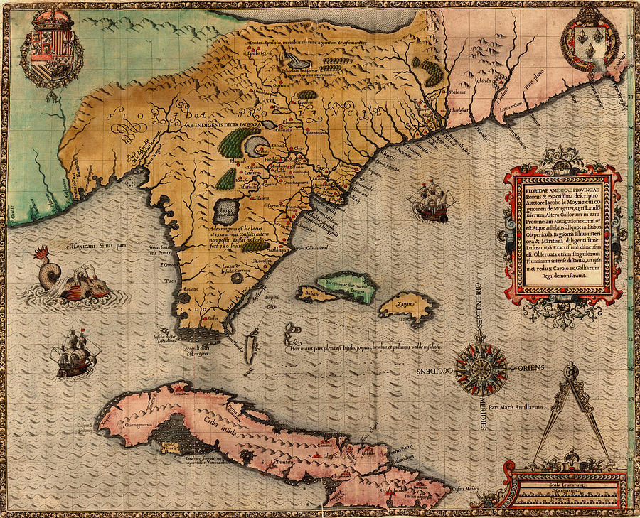 Map Of Florida Photograph - Map Of Florida 1591 by Andrew Fare