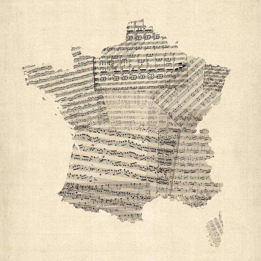 France Map Digital Art - Map Of France Old Sheet Music Map by Michael Tompsett