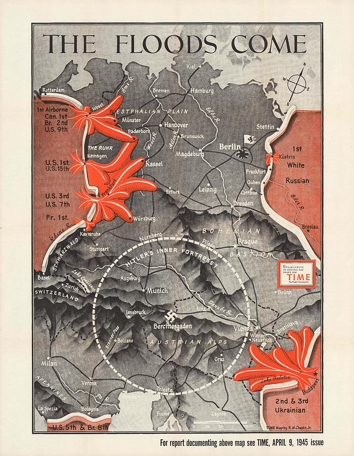 Map Of Germany - World War 2 Military Map -time Magazine - Historic Map Drawing