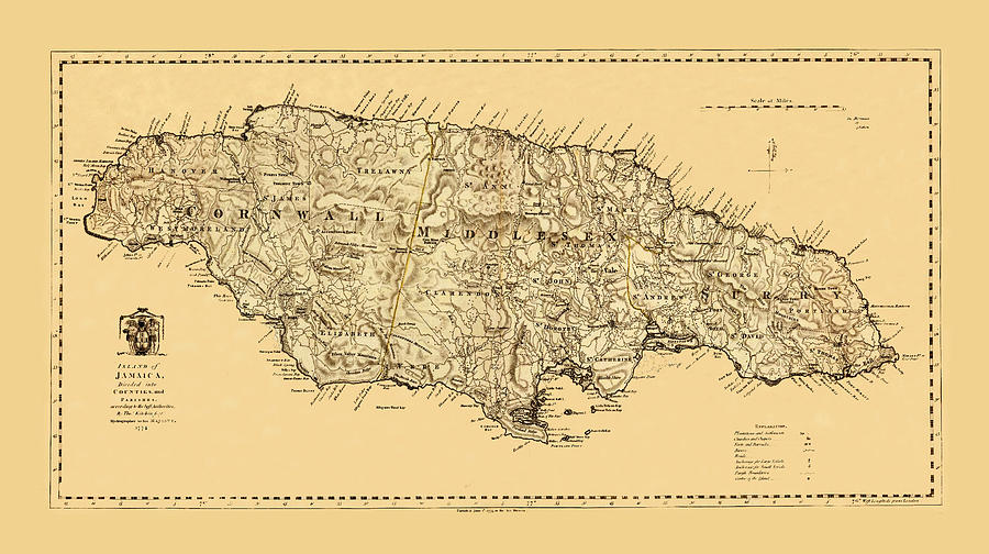 Map Of Jamaica Photograph By Andrew Fare - Vintage map of jamaica