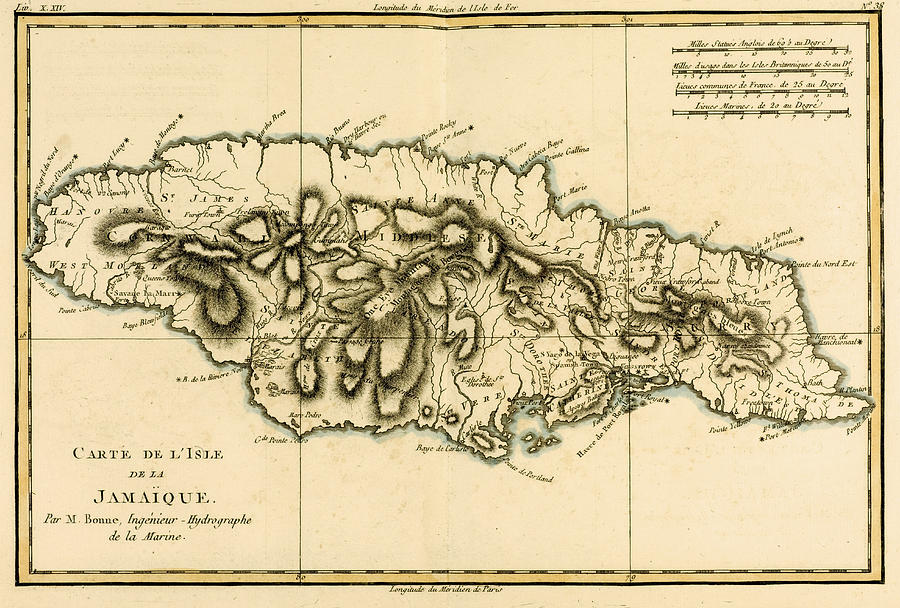 Maps Drawing - Map Of Jamaica by Guillaume Raynal