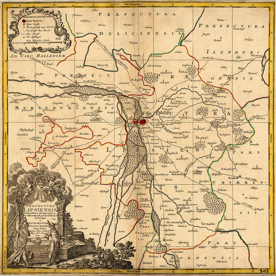 Map Of Leipzig 1750 Photograph by Andrew Fare