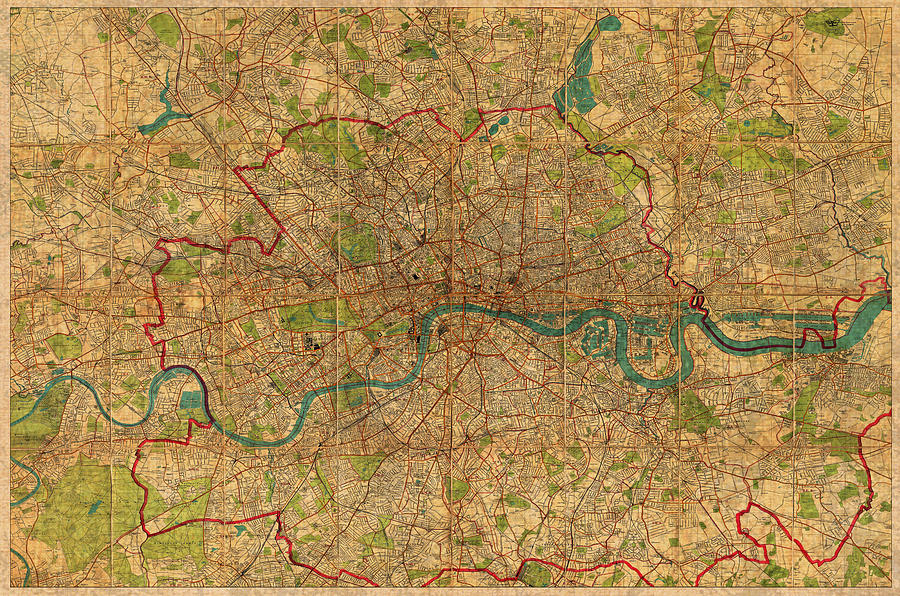 Old Street London Map.Map Of London England United Kingdom Vintage Street Map Schematic Circa 1899 On Old Worn Parchment