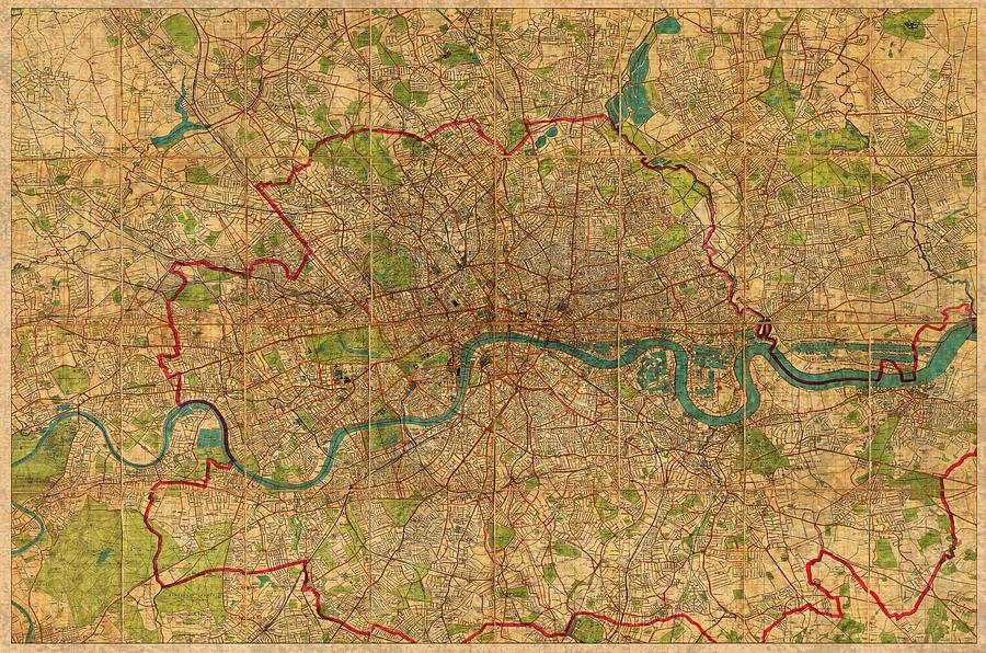 Map Of London England United Kingdom Vintage Street Map