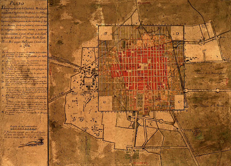 Mexico Map 1794.Map Of Mexico City 1794 Photograph By Andrew Fare