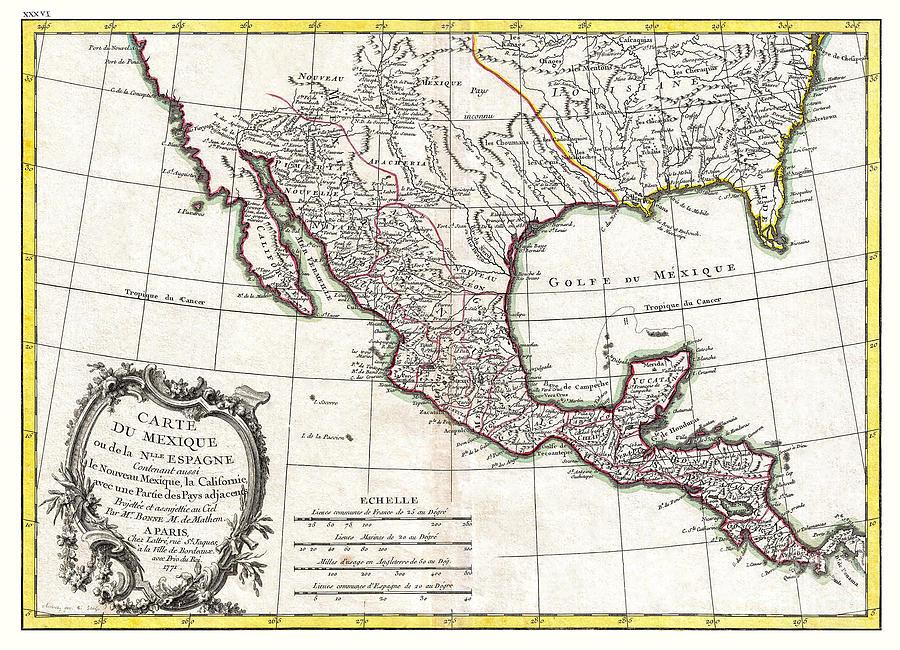 Map Of Texas Louisiana.Map Of Mexico Texas Louisiana And Florida Bonne 1771 By Pablo Romero