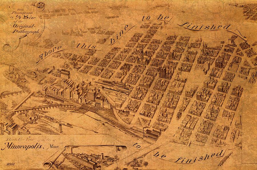 Map Of Minneapolis Minnesota Vintage Birds Eye View Aerial Schematic ...
