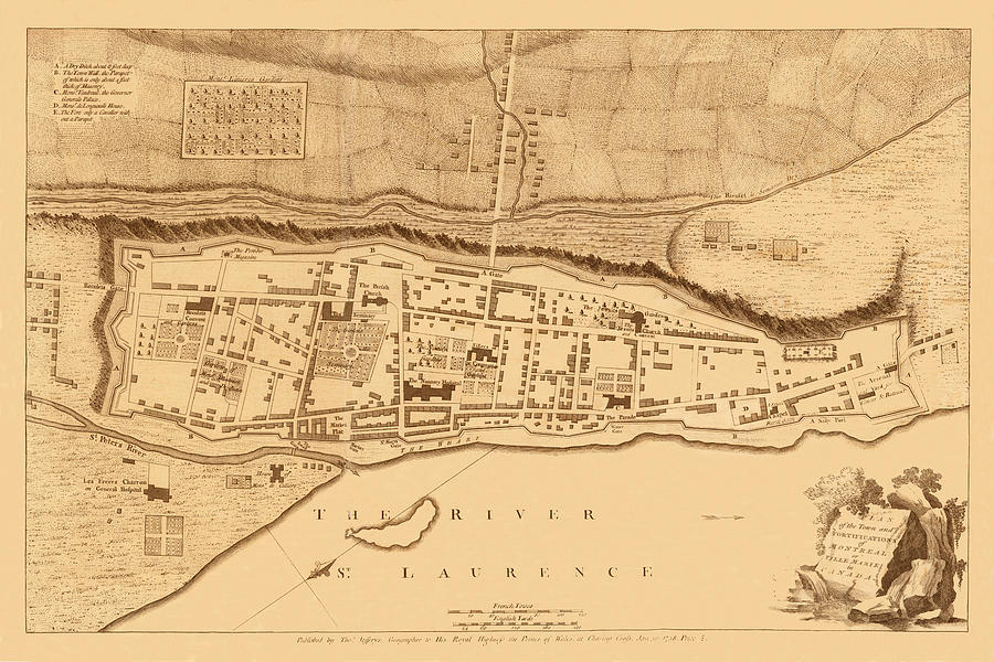 Montreal Photograph - Map Of Montreal 1758 by Andrew Fare