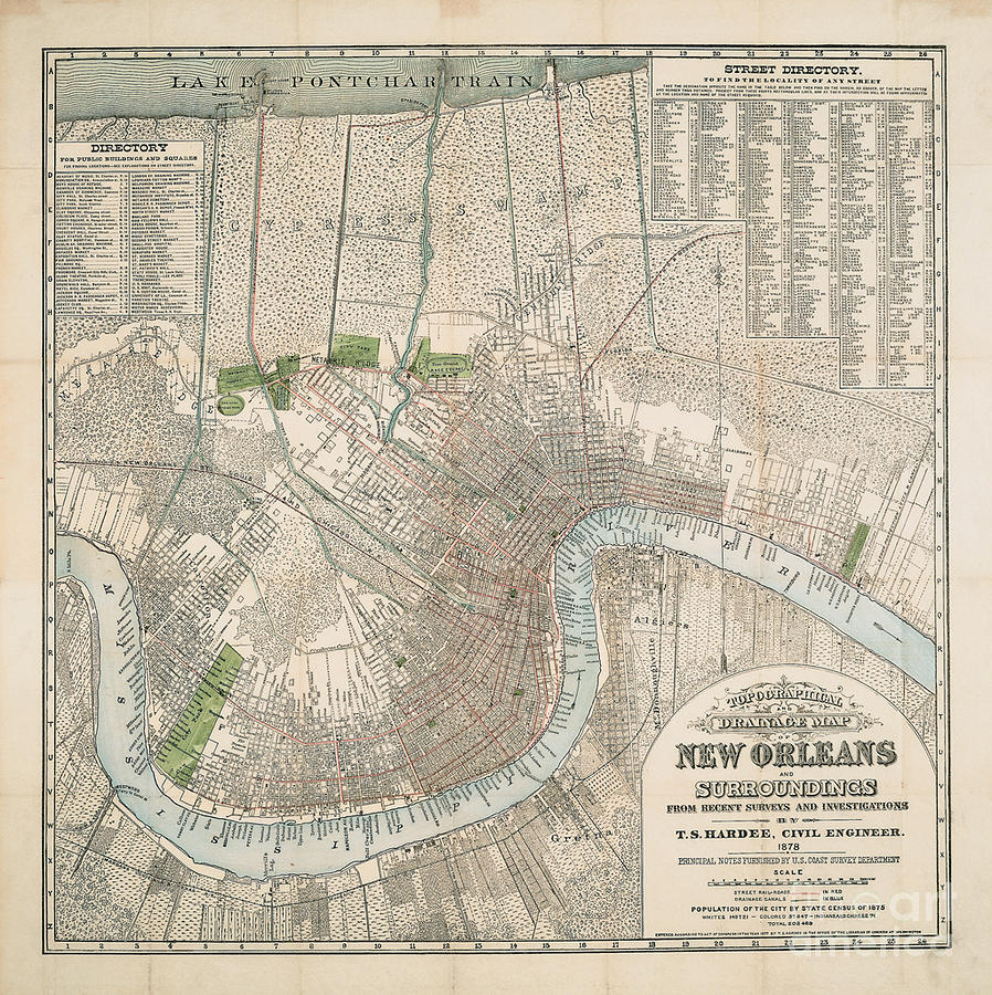 Map Of New Orleans Painting by MotionAge Designs