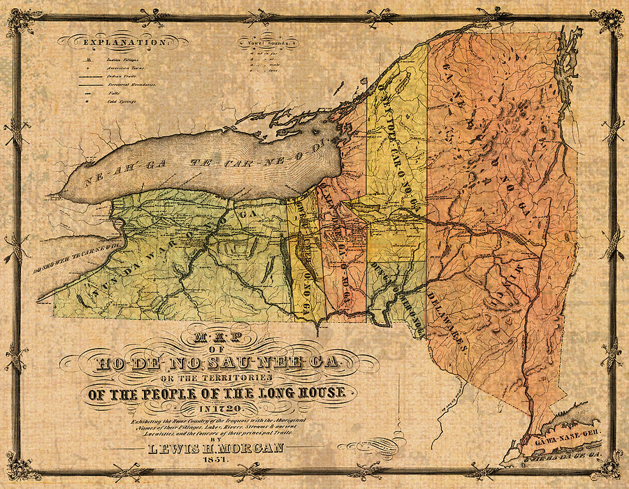 Map Of New York Landmarks.Map Of New York State Showing Original Indian Tribe Iroquois