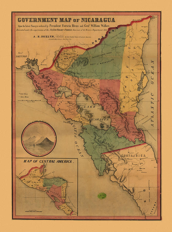 Antique Map Photograph - Map Of Nicaragua 1856 by Andrew Fare