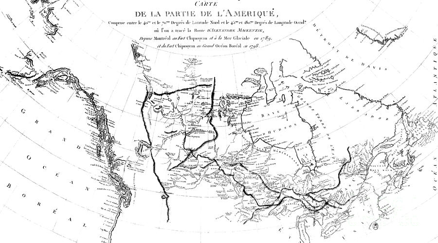 Map Of North America Plotting The Expeditions Of Sir Alexander - North america map drawing