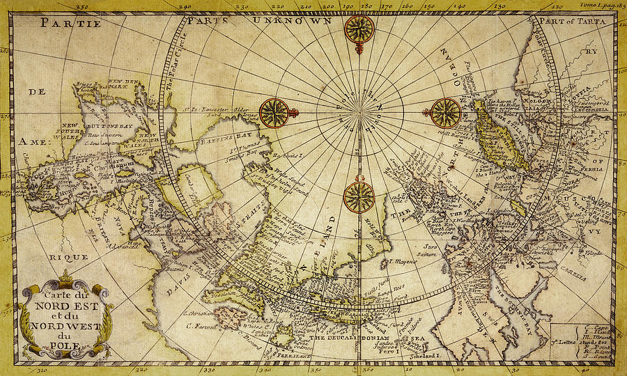 Map Of North Pole 1800 Photograph by Andrew Fare