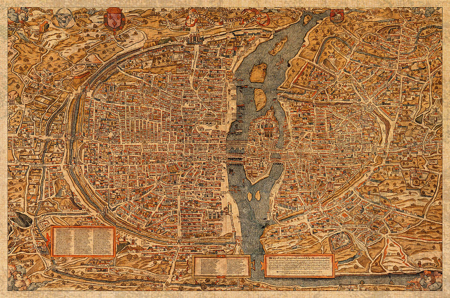 map of france mixed media map of paris france vintage street map schematic circa 1550