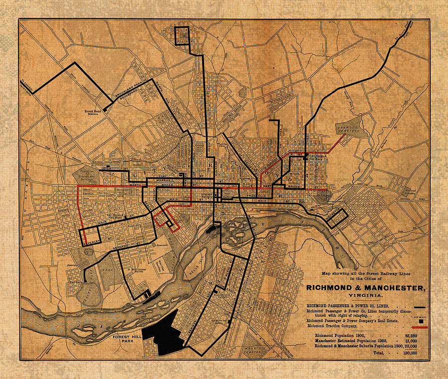 Map Of Richmond Virginia Vintage Street Car Railway Schematic From ...