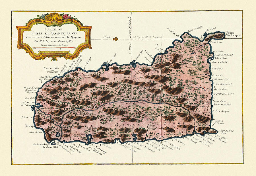 Vintage Map Photograph - Map Of Saint Lucia 1758 by Andrew Fare