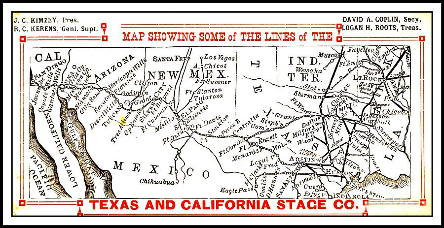 Map Of Northern Texas.Map Of Texas And California Stage Company Line 1880s Indian