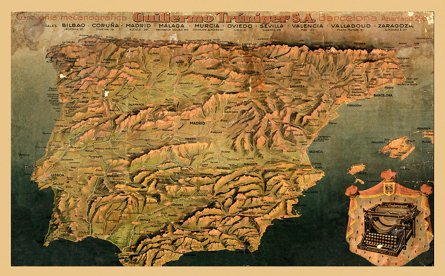 Map Of Spain 1930.Map Of Spain 1930 By Andrew Fare