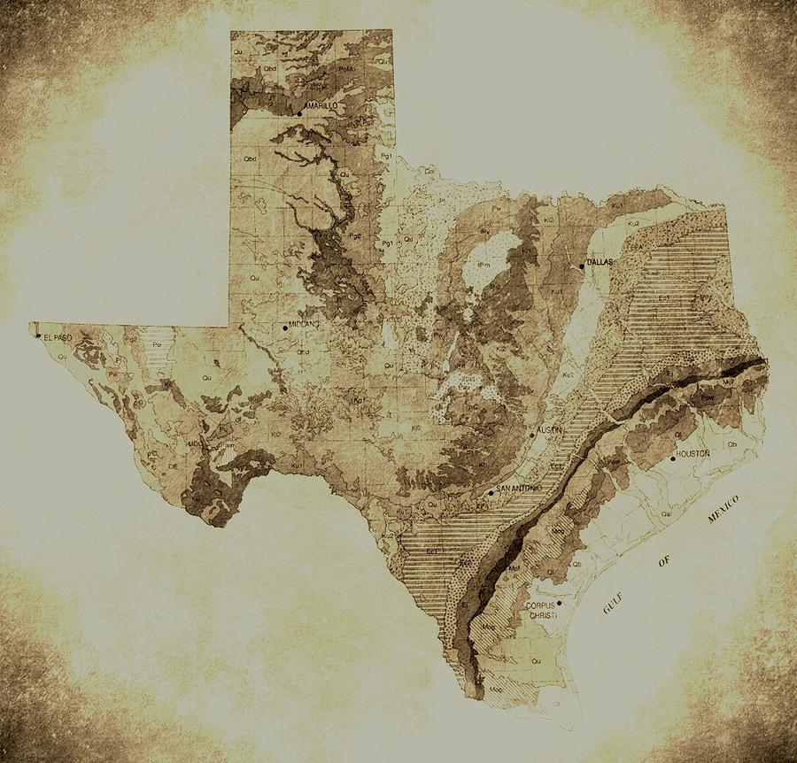 Map Of Texas In Vintage Photograph By Sarah BroadmeadowThomas - Vintage texas map framed