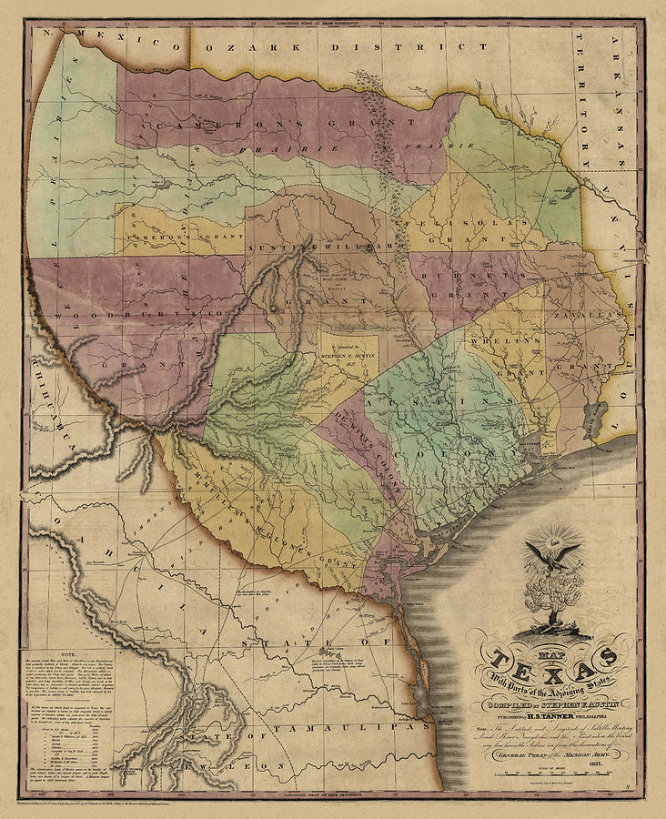 Map of Texas with Parts of Adjoining States by Stephen F. Austin, 1837 by Texas Map Store